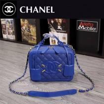 CHANEL 6070-3 甜美可愛淑女風藍色魚子醬牛皮手提單肩包化妝包