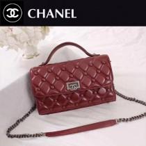 CHANEL 6062-3 夏季新款菱格繡花配紐扣設計紅色羊皮手提單肩包