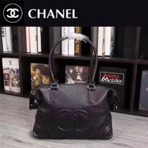 CHANEL 6090 時尚新款女士黑色魚子醬小牛皮大容量單肩購物袋