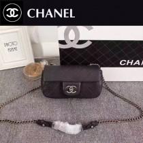 CHANEL 92256-3 人氣熱銷單品黑色球紋皮單肩斜挎包口蓋包