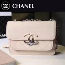CHANEL 606-3 專櫃最新菱格縫線杏色小牛皮單肩斜跨包