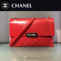 CHANEL-044-2 新款小羊皮翻蓋字母銘牌鏈條意大利原廠頂級小羊皮手提包手拿包