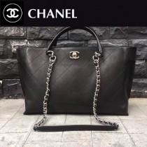 CHANEL-053 17走秀款意大利進口牛皮原版開模亮銀五金超大size購物袋