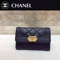 CHANEL 0581-3 專櫃限量版新配色LEBOY黑色原版球紋皮搭扣兩折零錢包