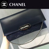 CHANEL-045-3 新款小羊皮翻蓋字母銘牌鏈條意大利原廠頂級小羊皮手提包手拿包