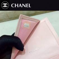 CHANEL 0575-2 專櫃升級版珠光杏色原版球紋皮銀扣短款三折錢包