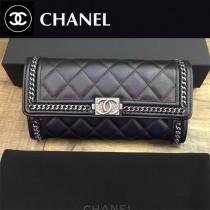 CHANEL 50096 歐美百搭鏈條裝飾黑色原版鹿皮搭扣長款錢包