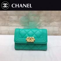CHANEL 0581-2 專櫃限量版新配色LEBOY湖水綠原版球紋皮搭扣兩折零錢包