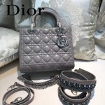 DIOR-004-5 專櫃限量版五格灰色原版小羊皮配鑽石肩帶手提單肩包戴妃包