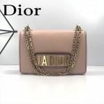 DIOR-001-6 王子文同款JADIOR系列古銅字母灰粉色原版皮單肩斜挎包手拿包