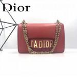 DIOR-001-4 王子文同款JADIOR系列古銅字母紅色原版皮單肩斜挎包手拿包