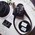 DIOR-006-4 專櫃新品限量版三格黑色原版羊皮配鑽石肩帶迷你戴妃包
