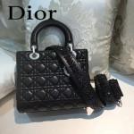 DIOR-004 專櫃限量版五格黑色原版小羊皮配鑽石肩帶手提單肩包戴妃包
