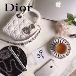 DIOR-006-2 專櫃新品限量版三格白色原版羊皮配鑽石肩帶迷你戴妃包