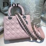 DIOR-004-4 專櫃限量版五格粉色原版小羊皮配鑽石肩帶手提單肩包戴妃包