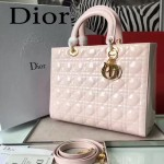 DIOR-007-2 人氣經典款女士七格粉色原版漆皮金扣手提單肩包戴妃包