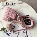 DIOR-006-3 專櫃新品限量版三格粉色原版羊皮配鑽石肩帶迷你戴妃包