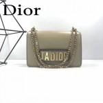 DIOR-001-5 王子文同款JADIOR系列古銅字母淺灰色原版皮單肩斜挎包手拿包