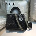 DIOR-004-6 專櫃限量版五格黑色原版小羊皮配鑽石肩帶手提單肩包戴妃包