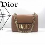 DIOR-001-3 王子文同款JADIOR系列古銅字母土黃色原版皮單肩斜挎包手拿包
