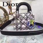 DIOR-002-2 專櫃最新設計Lady Art圓圈三格拼色原版小羊皮手提單肩包戴妃包