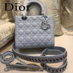 DIOR-004-2 專櫃限量版五格藍色原版小羊皮配鑽石肩帶手提單肩包戴妃包