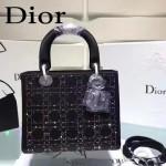 DIOR M44500-3 名媛必備單品五格黑色原版布料燙鑽手提單肩包戴妃包
