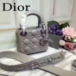 DIOR-0013-3 早春專櫃最新款灰色原版小羊皮小號單肩斜挎包戴妃包