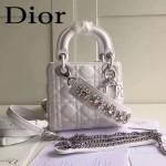 DIOR-0019-5 早春專櫃同步LADY白色原版羊皮小號手提單肩包戴妃包