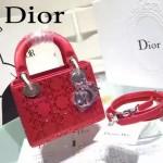 DIOR M44501-5 高級定制款紅色原版布料燙鑽迷你手提單肩包戴妃包