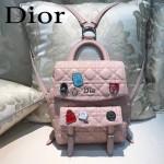 DIOR-0010 個性可愛風徽章裝飾粉色原版羊皮小號雙肩包書包
