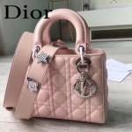 DIOR-0020-11 最新設計LADY四格粉色原版羊皮配三個徽章手提單肩包戴妃包
