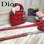 DIOR-0013-2 早春專櫃最新款紅色原版小羊皮小號單肩斜挎包戴妃包