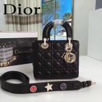 DIOR-0020-4 最新設計LADY四格黑色原版羊皮配三個徽章手提單肩包戴妃包