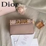 DIOR-009-4 歐美流行新款JADIOR字母金屬粉色原版牛皮手拎包手拿包