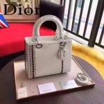DIOR-0018 專櫃限量版LADY手工鑲鑽白色原版皮手提單肩包戴妃包