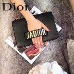 DIOR-008-5 個性百搭限量版J'ADIOR字母金屬黑色原版牛皮單肩斜挎包