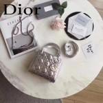 DIOR-0012-3 高級定制Cannage三格藤格紋銀色原版瓷磚效果鹿皮手提單肩包