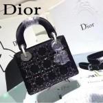 DIOR M44501-2 高級定制款黑色原版布料燙鑽迷你手提單肩包戴妃包