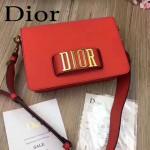 DIOR-0016-3 專櫃海報款復古字母五金紅色原版牛皮單肩斜挎包