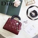 DIOR-0017-3 秋冬專櫃櫥窗款Lilybag棗紅拼黑色原版皮全拉鏈手提單肩包