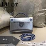 DIOR-0015-2 早春新款單品銀配蘭拼色原版牛皮手提單肩包晚宴包