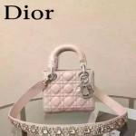 DIOR-0019-8 早春專櫃同步LADY粉色原版羊皮小號手提單肩包戴妃包
