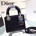 DIOR M44501-3 高級定制款黑色原版布料燙鑽迷你手提單肩包戴妃包