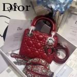 DIOR-0019-7 早春專櫃同步LADY紅色原版羊皮小號手提單肩包戴妃包
