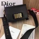 DIOR-0016-2 專櫃海報款復古字母五金黑色原版牛皮單肩斜挎包