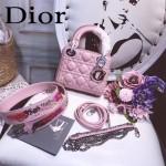 DIOR-0019-12 早春專櫃同步LADY粉色原版羊皮小號手提單肩包戴妃包