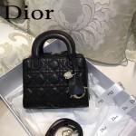DIOR-0017-5 秋冬專櫃櫥窗款Lilybag黑色原版皮全拉鏈手提單肩包