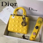 DIOR-0020-8 最新設計LADY四格黃色原版羊皮配三個徽章手提單肩包戴妃包