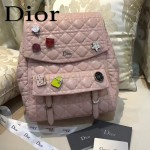 DIOR-0011 趣味百搭新款徽章裝飾粉色原版羊皮大號雙肩包書包